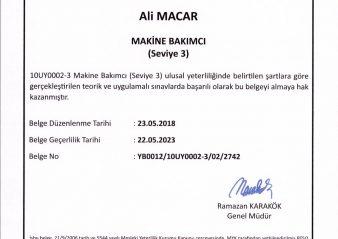 MYK, 10UY0002-3 Makine Bakımcı, Ali Macar